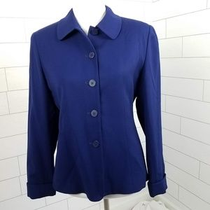 Talbots Women's Size 6 Blue Wool Blazer Jacket